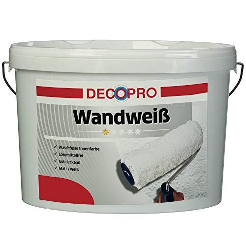 DecoPro Wandfarbe Weiß 5 Liter stumpfmatt | Weiße Farbe für Wände