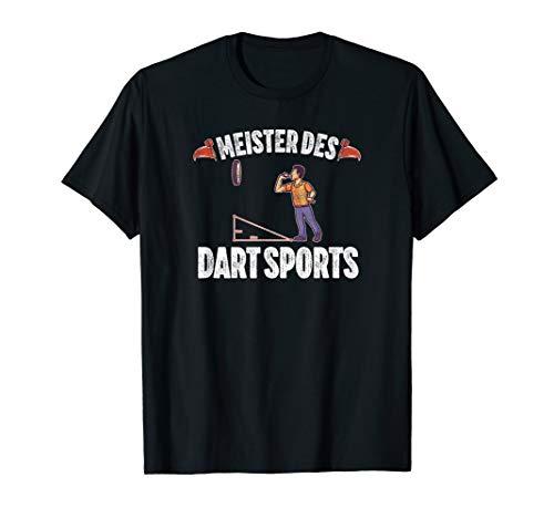 Herren Meister Des Dart Sports mit Dartscheibe und Dartpfeil T-Shirt