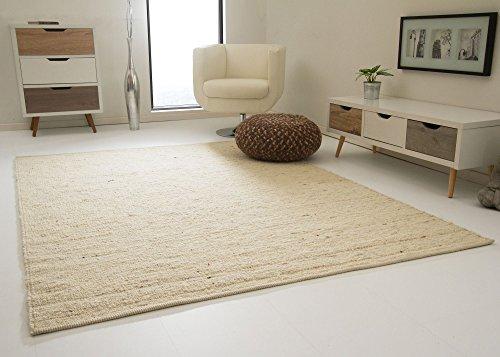 Landshut Handweb Teppich aus 100% Schurwolle - natur hell, Größe: 70x130 cm