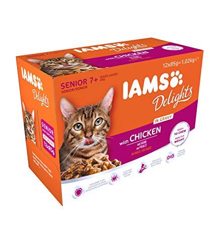 Iams Delights Senior Nassfutter (für ältere Katzen ab 7 Jahre mit viel Huhn in...