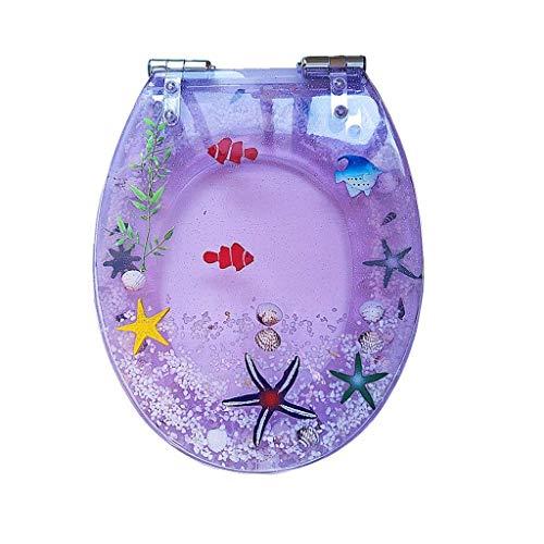 XZJJZ Toilettendeckel-Transparent Fisch-Aquarium Längliche Oval WC-Sitz mit...