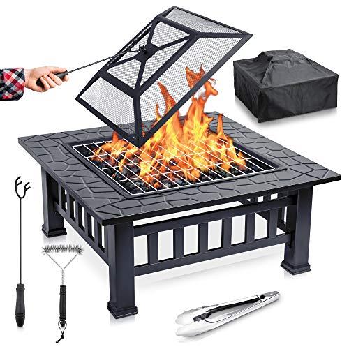 FUNKENFLUG® Feuerschale mit Funkenschutz & Grillrost - für wohlige Wärme &...