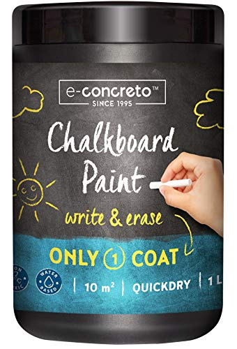 e-concreto Tafelfarbe 1L Schwarz + Kreide | Tafellack | Schultafellack