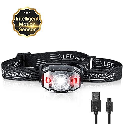 ZIONOR Stirnlampe LED Wiederaufladbare USB Zoombar Wasserdicht Kopflampe mit...