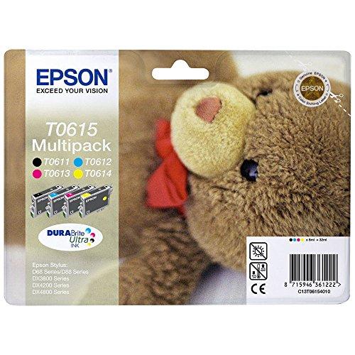 Epson Original C13T06154010 Teddybär, wisch- und wasserfeste Tinte (Multipack,...
