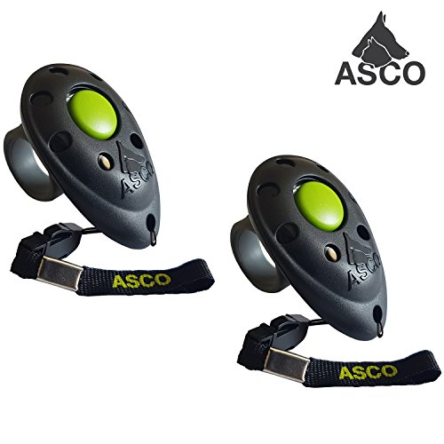 ASCO 2X Premium Clicker, Finger Clicker für Clickertraining, Hunde Katzen...