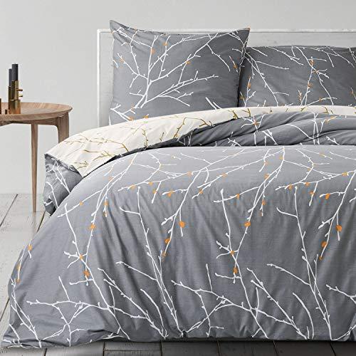 Bedsure Baumwolle Bettwäsche 135x200 cm Grau/Beige Bettbezug Set mit schickem...