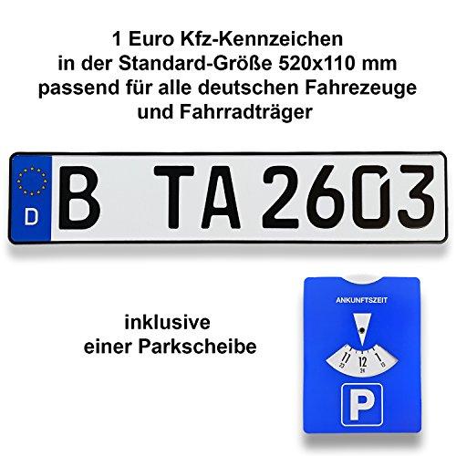 TA TradeArea 1 DIN-zertifiziertes Kfz-Kennzeichen in der Standard-Größe...