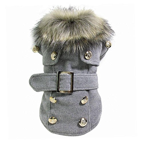 Haustier Hund Katze Winter Dicke Warme Mantel Jacke Kleidung Bekleidung - Grau,...