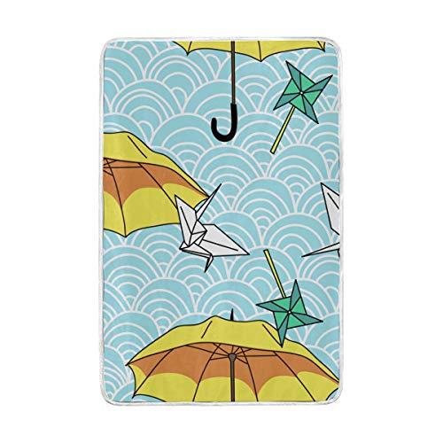 ELIENONO Soft Fluffy Flanell Fleece Decken,Vektor Nahtlose gelbe Regenschirme...