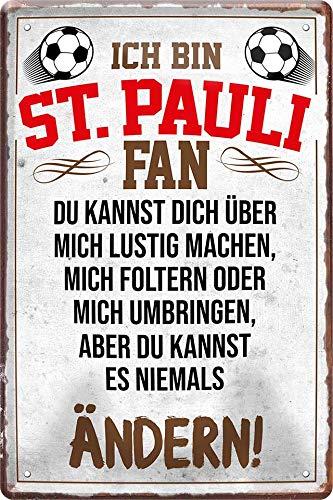 Blechschilder ICH BIN ST. Pauli Fan Metallschild für Fußball Begeisterte...