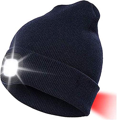 LED Beanie Mütze Mit 3 Licht Helligkeitslevel Herren Damen Lampe Mütze USB...