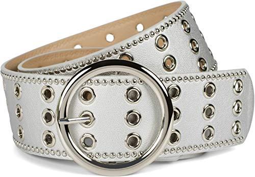 styleBREAKER Damen breiter Gürtel mit Lochnieten und runder Schließe,...