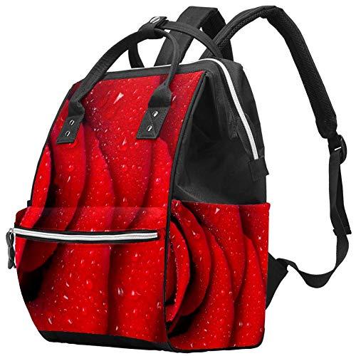 Wickeltasche, rote Rosenblätter, große Kapazität, Handtasche, Leinen,...