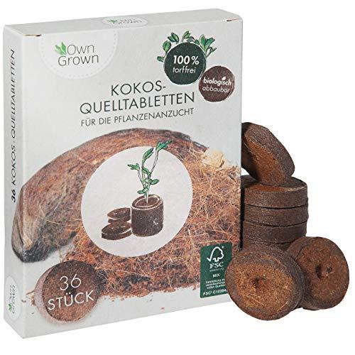 Kokos Quelltabletten mit Nährstoffen – 36 Stück, Kokoserde gepresst zur...
