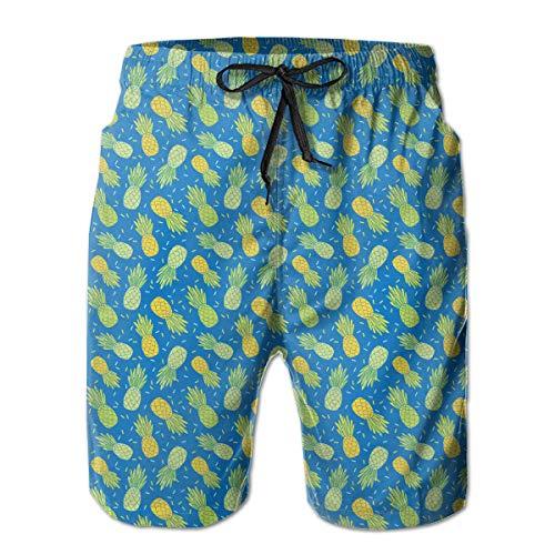 Blue Yellow Pineapples Repeat Pattern Design Men's Summer Surf Swim Trunks Quick...