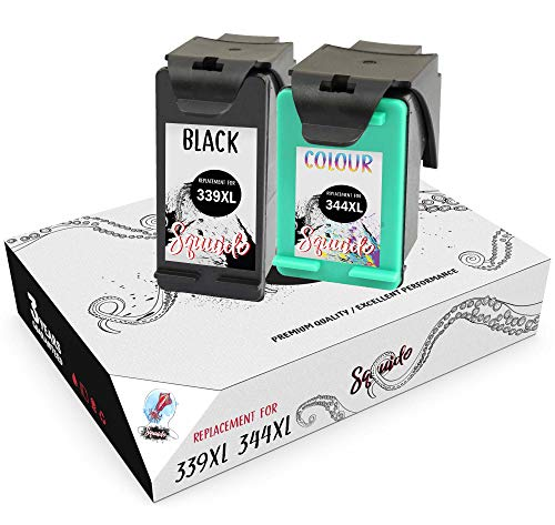 Squuido 2 Remanufactured Tintenpatronen 339 344 kompatibel mit HP DeskJet 5740...