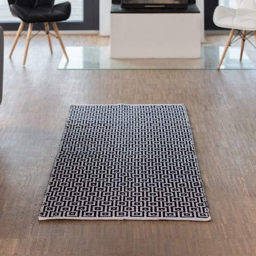 Relaxdays Teppich Läufer Flur 80 x 200 cm, Handmade, Designer Baumwollteppich...