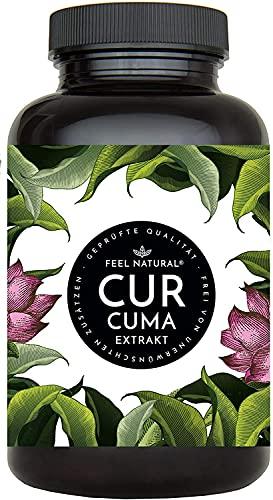 Curcuma Extrakt von FEEL NATURAL - (90 Kapseln) - laborgeprüft, vegan,...
