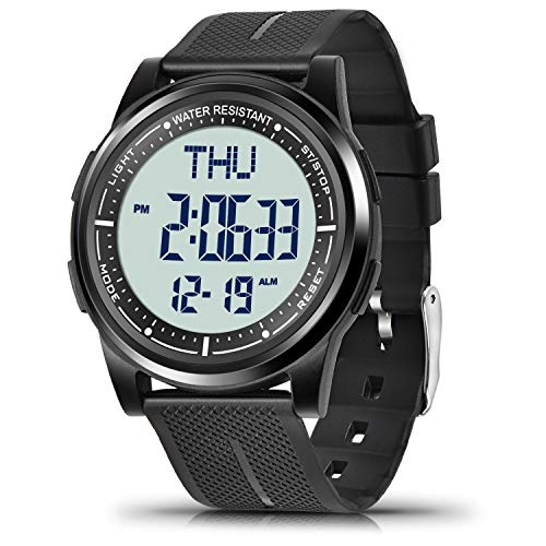 WIFORT Digital Uhren Herren Damen, 5 ATM Wasserdicht Armbanduhr mit EL...