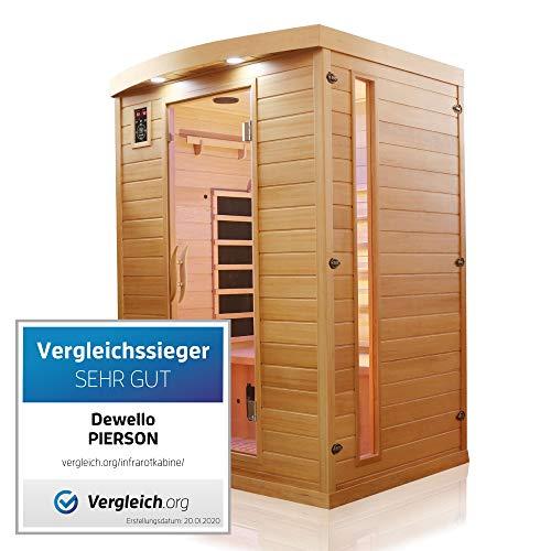 Dewello Infrarotkabine PIERSON 135x105 DUAL-THERM für 1-2 Personen aus Hemlock...