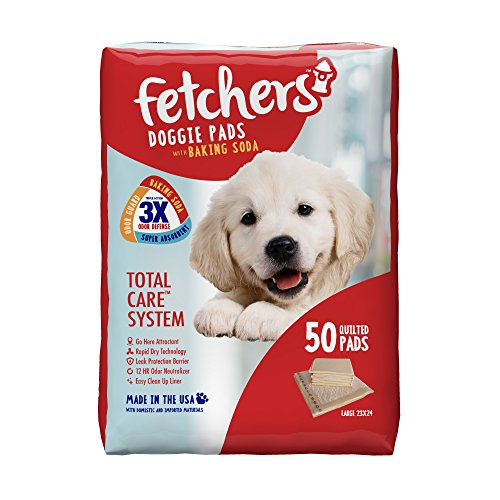 Fetchers Puppy Pads with Baking Soda, 50 Count, Large, 23 by 24 Inches
