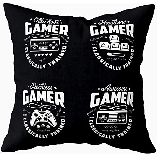 Bue Time Square Dekokissenbezug, Retro Video Games Related Gamer Monochrome...