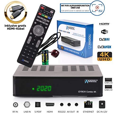 ANADOL IZYBOX Combo 4K Sat-Receiver, Kabel-Receiver oder DVB-T2-Receiver,...