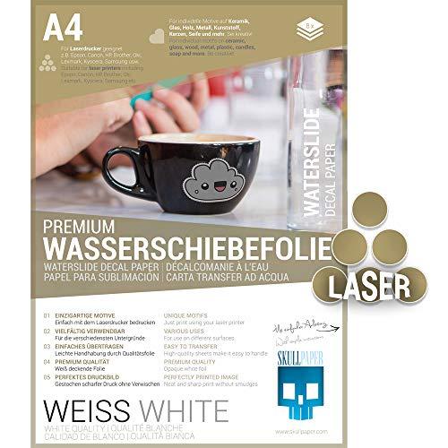 SKULLPAPER® Wasserschiebefolie WEISS für Laserdrucker - hauchdünn DIY Decal...