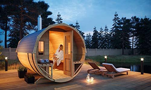 FinnTherm Fass-Sauna Sam, unbehandelt/Natur, inkl. Holz-Ofen (18 kW), 40 mm...