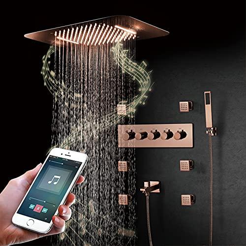 LLKLKL Duschsystem 580x380mm Regendusche Duschset mit Thermostat,...