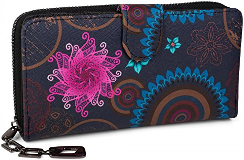 styleBREAKER Geldbörse mit Ethno Blumen und Blüten Muster, Vintage Design,...