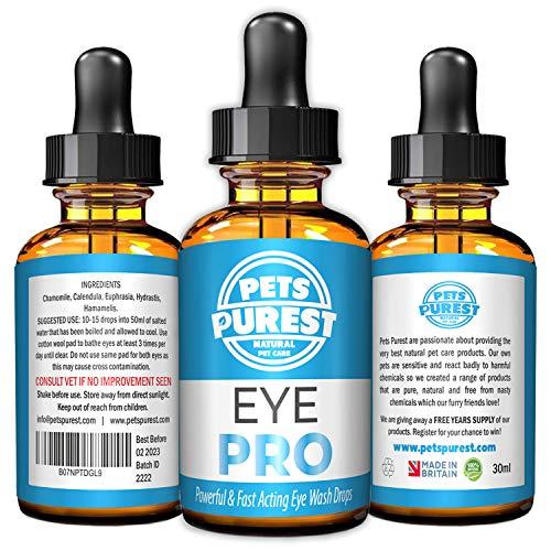 Pets Purest Kräftige und schnell wirkende Augentropfen für Hunde, Katzen und...