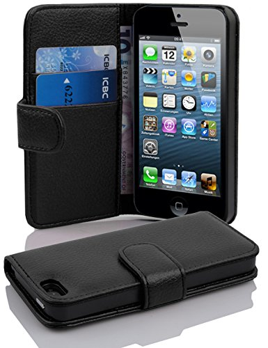Cadorabo Hülle für Apple iPhone 5 / iPhone 5S / iPhone SE in Oxid SCHWARZ –...