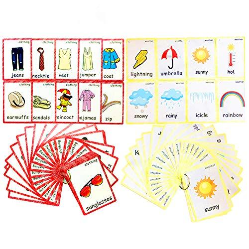 Set von Kleidung und Wetter-Karteikarten für Kleinkinder | Lernkarteikarte &...