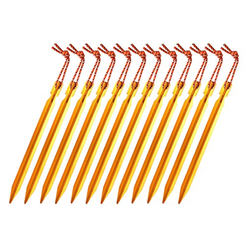 OBKJJ Zeltheringe, 7075 Aluminium, leicht, mit reflektierendem Seil, 12 Stück...