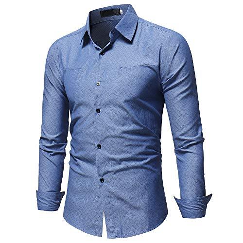 Qinhanjia Herren Shirt Mode Einfarbig Männlich Lässig Langarm Shirt,...