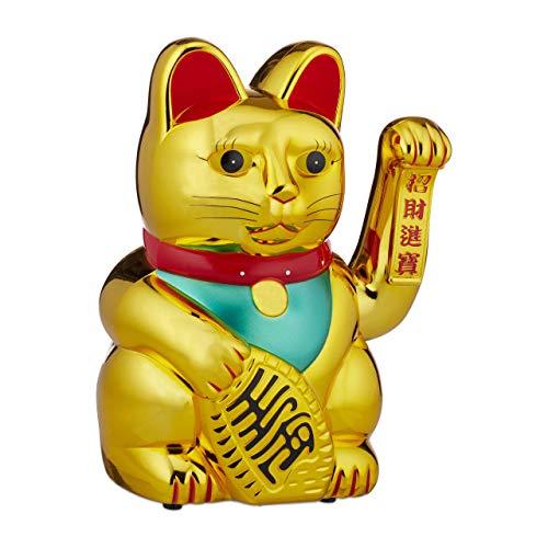 Relaxdays, Gold Winkekatze, XL Maneki Neko, batteriebetriebene winkende Pfote,...