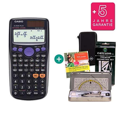 Streberpaket: Casio FX-85DE Plus + Schutztasche + erweiterte Garantie + Lern-CD...