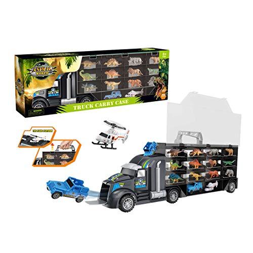 Oeasy 24pcs Dinosaurier Transporter Truck, Dinosaurier LKW Spielzeug mit...