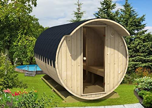 FinnTherm Fass-Sauna Finn inkl. Holz-Ofen (18 kW) | unbehandelt - Gartensauna...