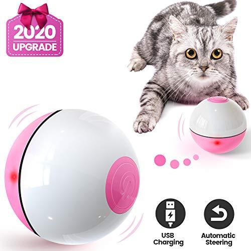 Iokheira Katzenball mit LED-Licht, Elektrisch Zwei-Farben Katzenspielzeug Ball...