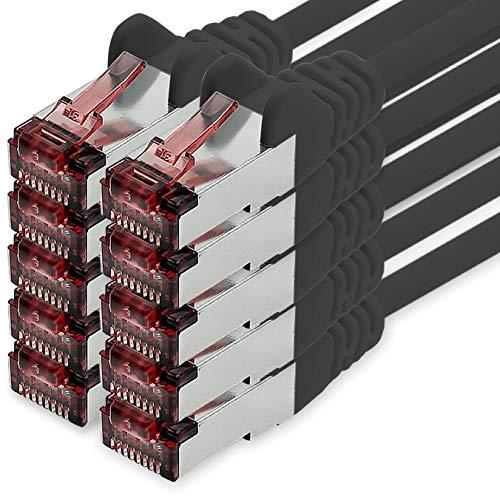 1CONN Cat6 Netzwerkkabel 1m schwarz - 10 x Patchkabel LAN Cat 6 LAN Netzwerk...