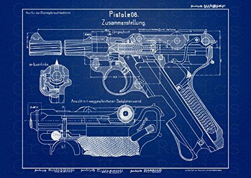 UpCrafts Studio Design P08 Luger German Pistol Blueprint - P-08 Luger 9mm Gun...