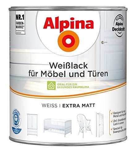 ALPINA Weißlack für Möbel und Türen 2 Liter Farbe Weiss Extramatt