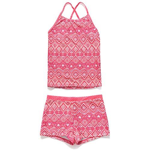 PHIBEE Girls' Tankini Summer Bathing Two-Piece Swimsuit Pink2 6