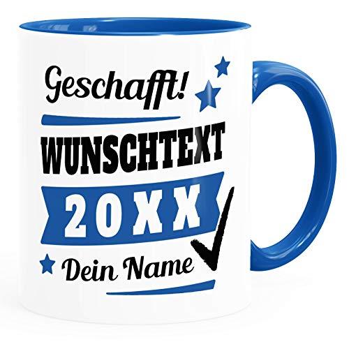 SpecialMe® Tasse mit Name personalisiert Geschafft! eigener Text Geschenk...