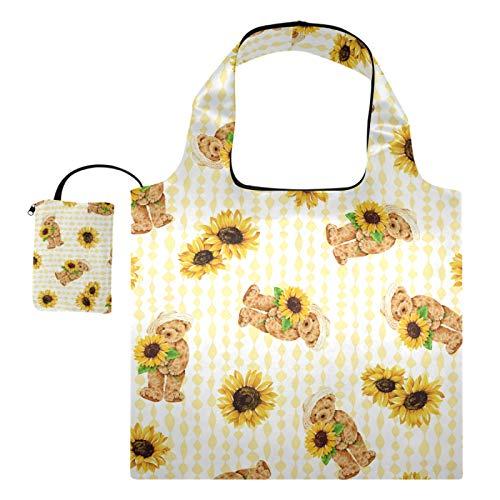 Wiederverwendbare Einkaufstaschen – Süßer Bär hält Sonnenblumen, faltbare...