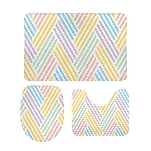 PICKIDS Badezimmerteppiche, mehrfarbige Streifen, Textur, Fußmatte, Badteppich,...