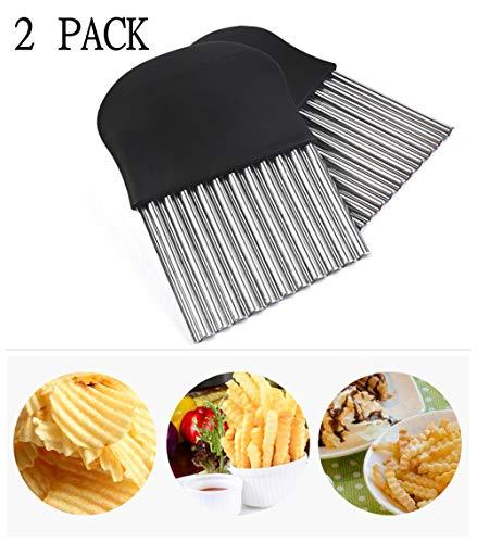 Zibnwee 2 PCS Pommes Wellenmesser, Edelstahl Kartoffelschneider, Pommesschneider...